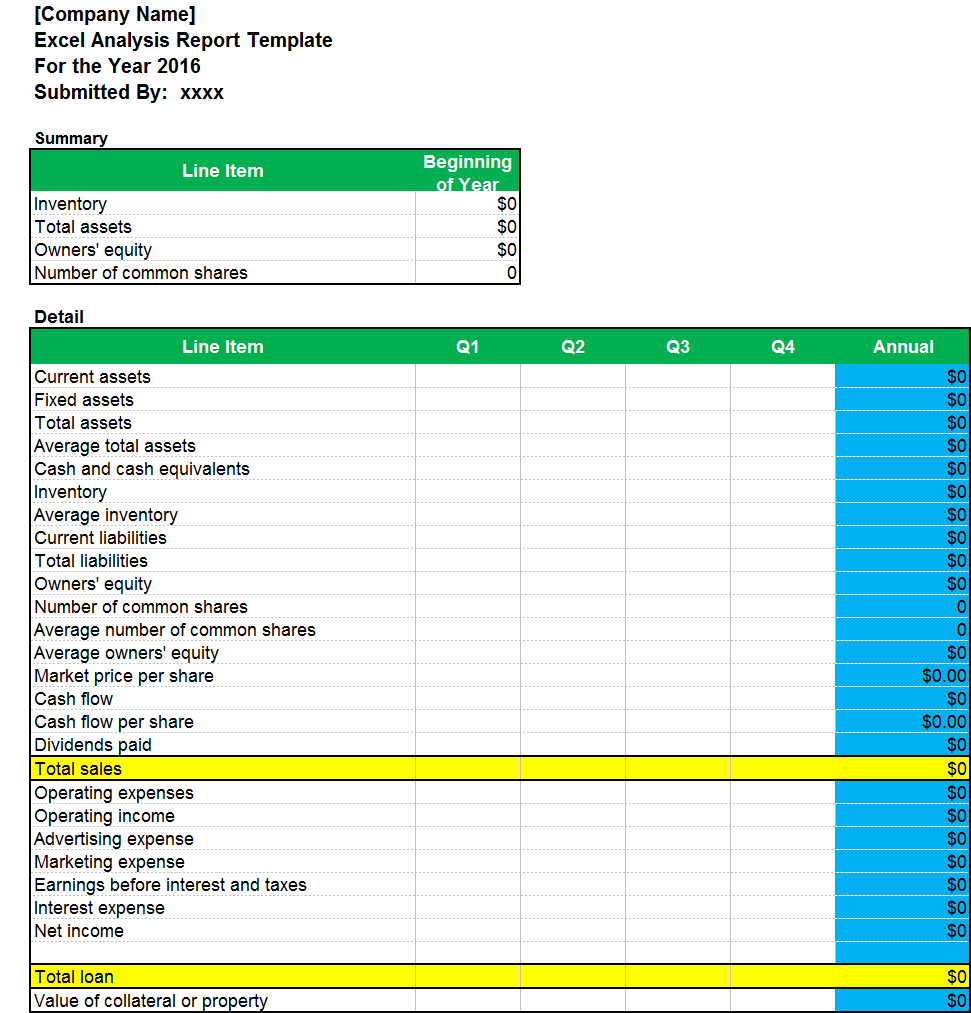 Excel Analysis Report Template - Excel Word Templates