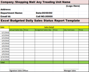 Sales Report Template - Excel Word Templates