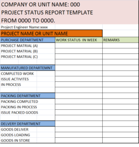 Project Status Report Template Excel Word Templates