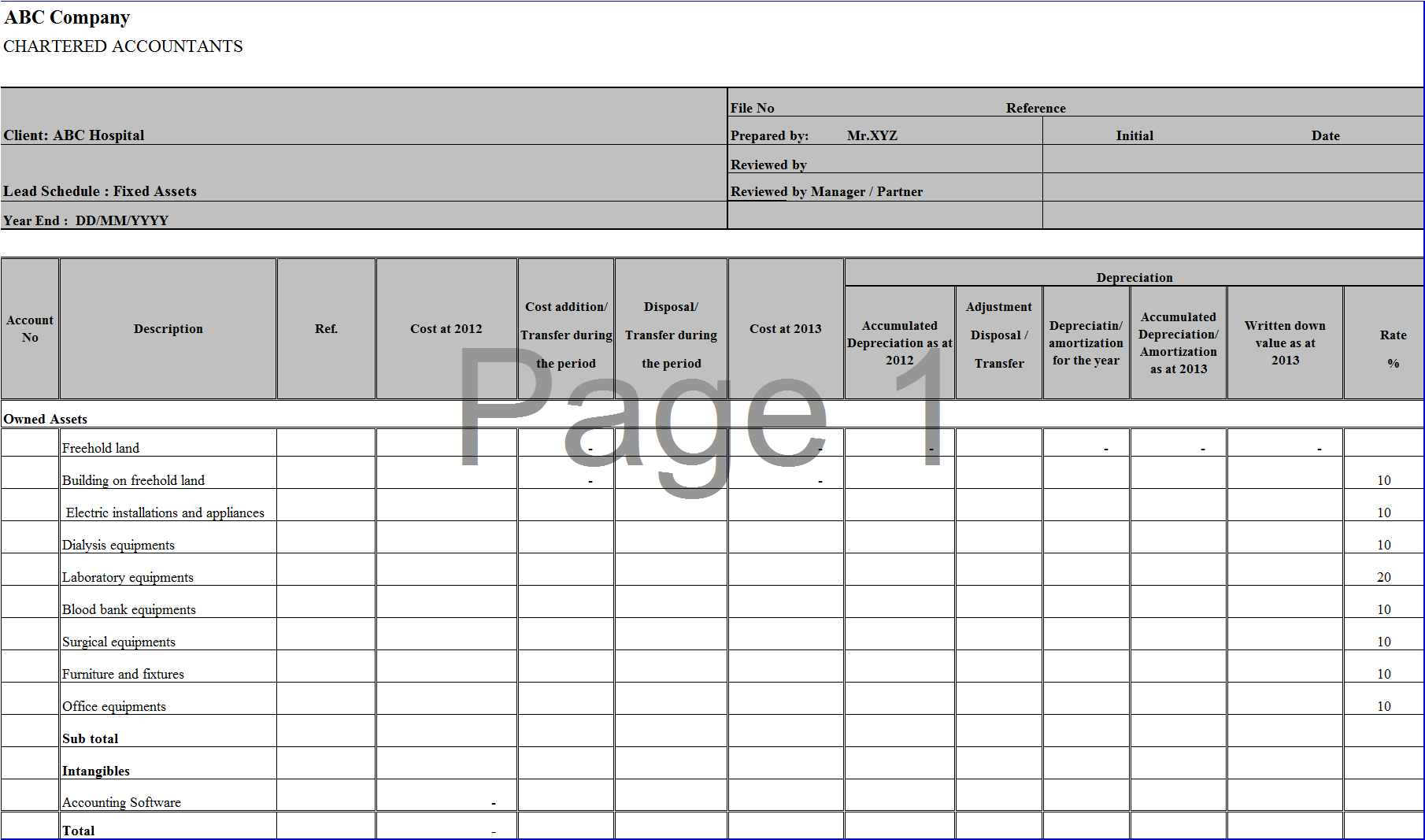 assets depreciation report template  u2013 excel word templates