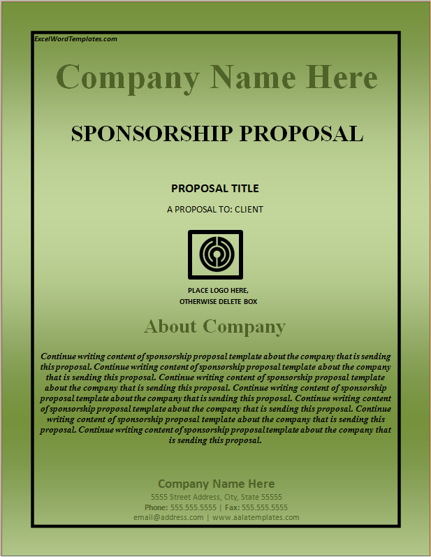 Sponsorship Proposal Template Excel Word Templates