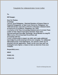 Administrator Resume Cover Letter Template – Excel Word ...