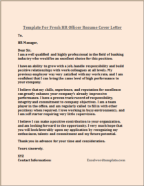 Fresh HR Officer Resume Cover Letter Template – Excel Word ...