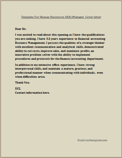 Hr Manger Resume Cover Letter Template Excel Word Templates