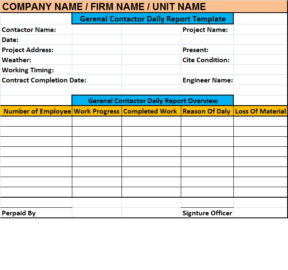 Daily Contractor Report Template - Excel Word Templates